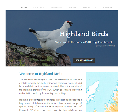 Highland Birds website - resized for page